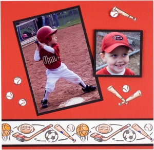 Baseball Scrapbook Page by Debi Hammons