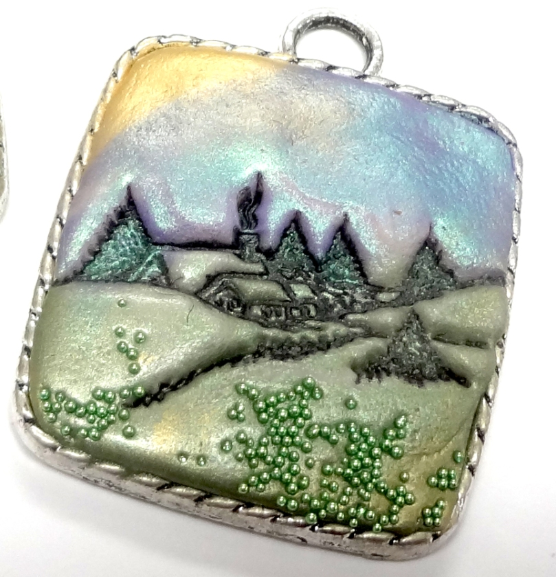 Resin Clay pendant by Carmi Cimicata