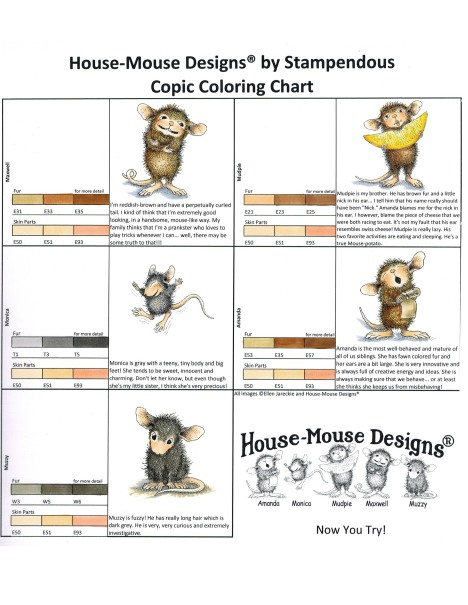 Copic Marker House-Mouse Coloring Chart