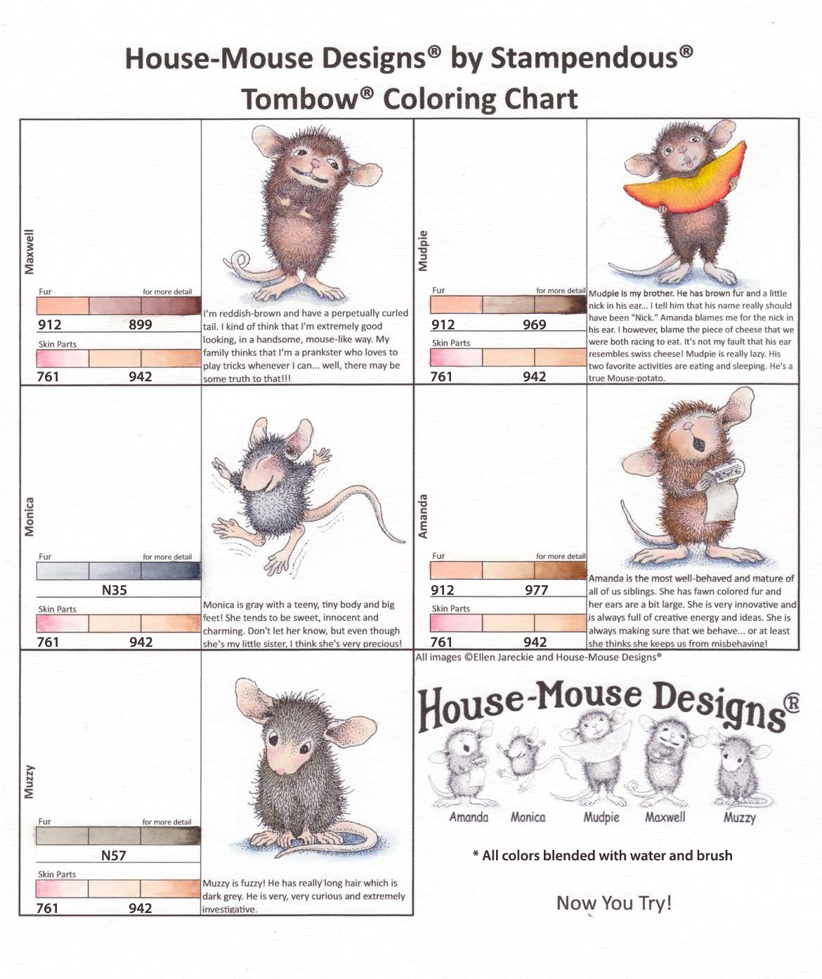 house mouse coloring chart tombow markers