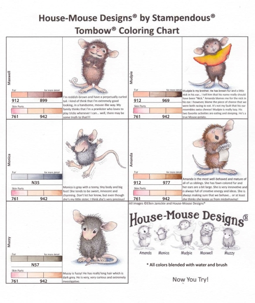 House-Mouse Coloring Chart - Tombow Markers