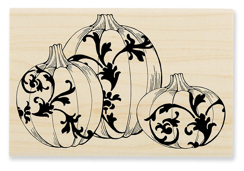 Stampendous P204 Damask Pumpkins