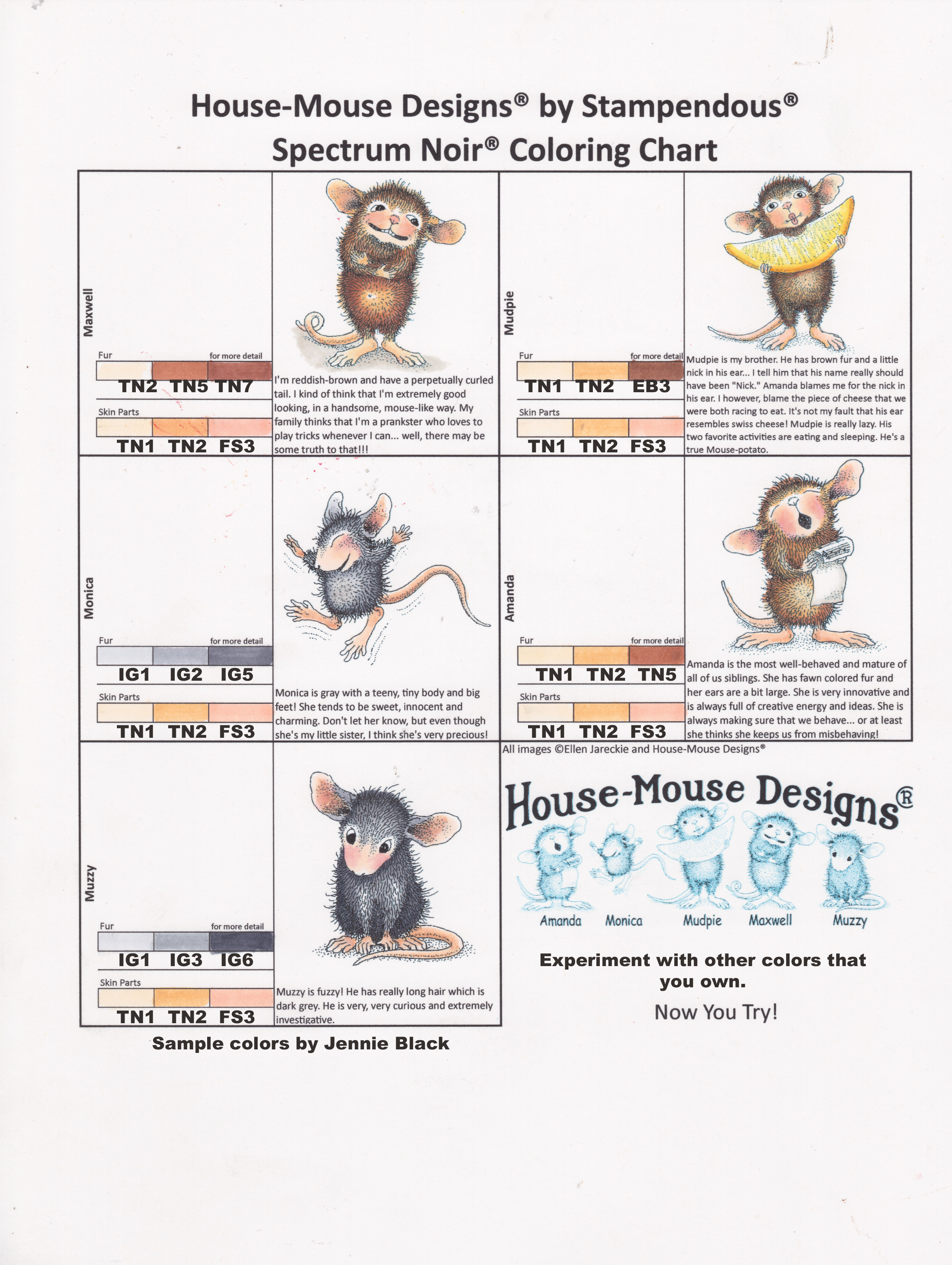 House-Mouse Designs Coloring Chart Ranger Distress Markers colored by Jennie Lin Black
