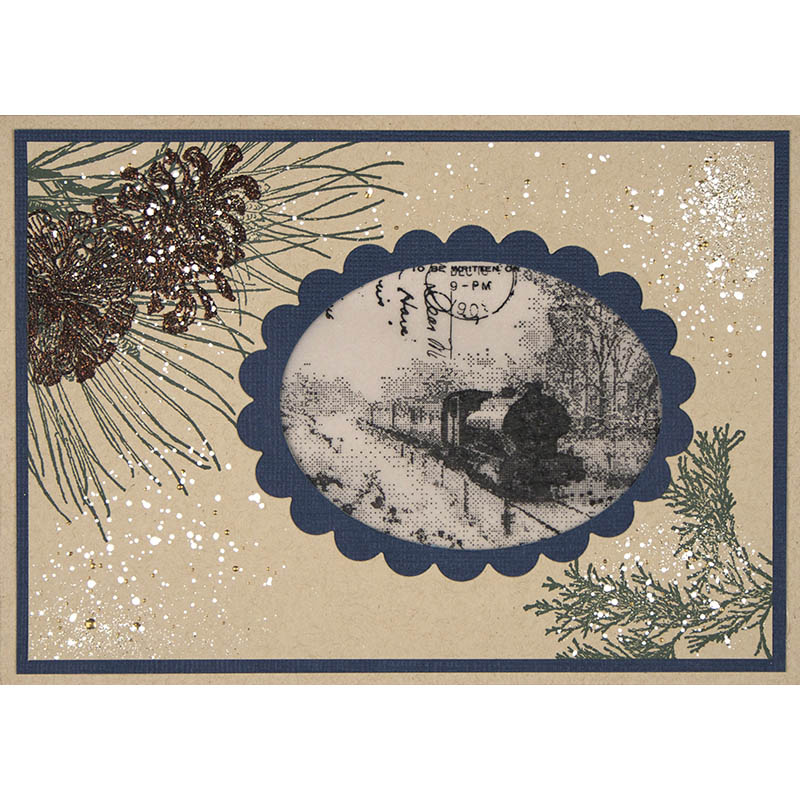 Snowy Train Postcard by Debi Hammons