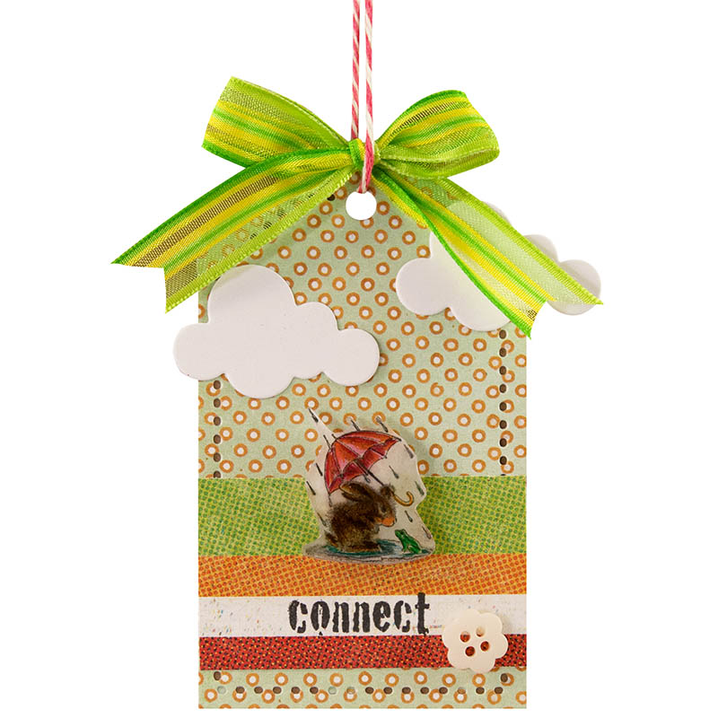 Puddle Fun Tag by Stephanie Lee with Striped Ribbon by May Arts