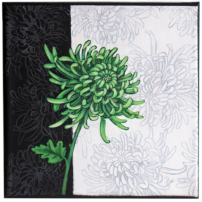 Cling Jumbo Spider Mum Canvas by Debbie Cole
