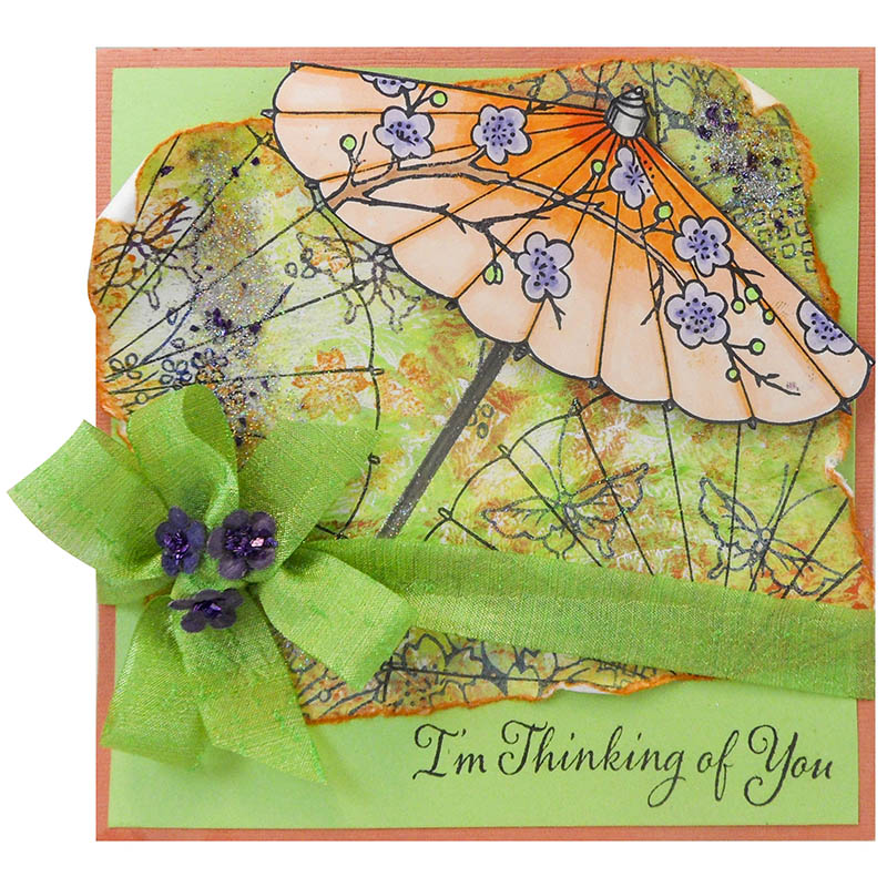 Asian Umbrella - Creative Palette backgroud with green silk ribbon - by Kristine Reynolds