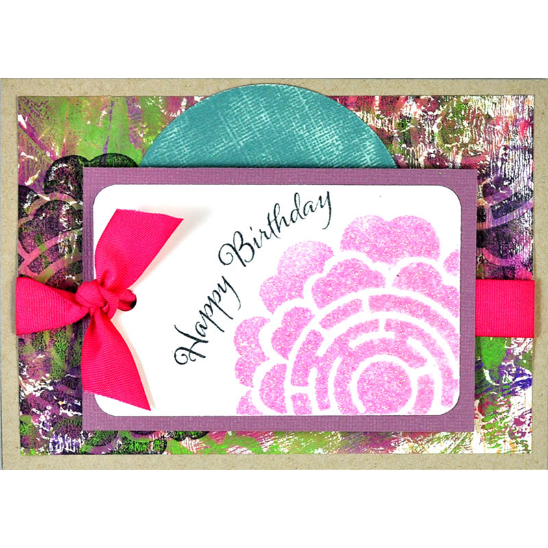Geo Blossom Birthday - Creative Palette Background with hot pink silk ribbon by Janelle Stolfuss
