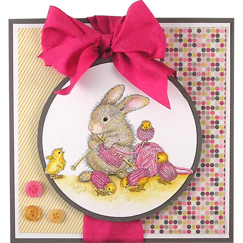 House-Mouse Designs® HappyHoppers® Knit Chick Purl 2 by Suzanne Czosek Featuring Pink Silk ribbon by May Arts