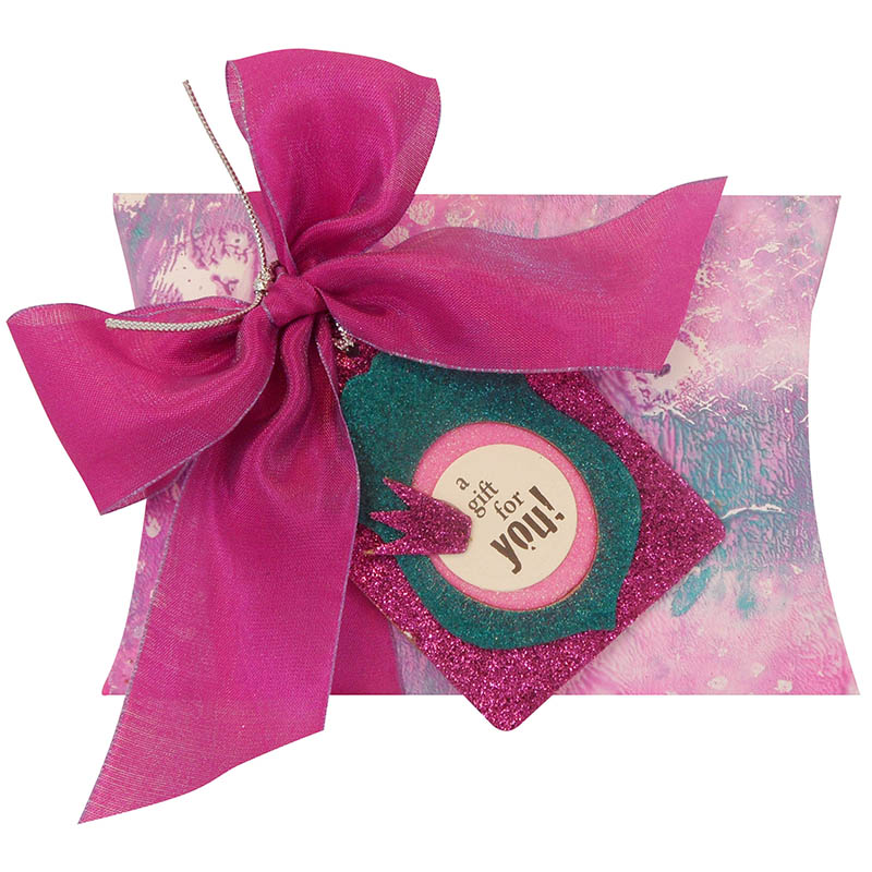 Creative Palette and Stack Art Pillow box with Pink Silk Ribbon by Kristine Reynolds