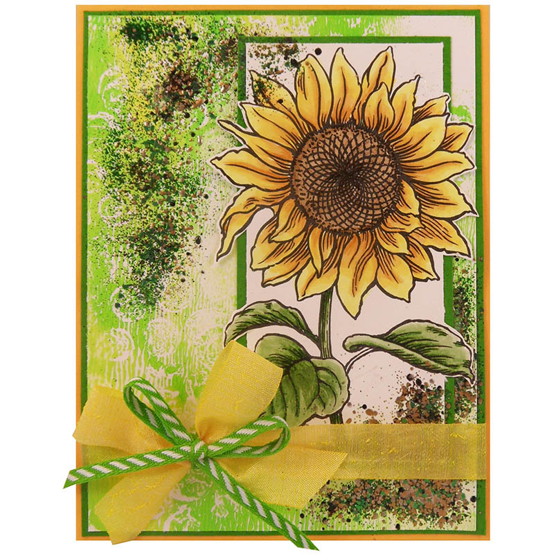 Sweet Sunflower by Kristine Reynolds featuring yellow silk and lime chevron ribbon by May Arts
