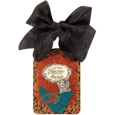 Regal Bird Stack Art with Black Silk Bow by Kristine Reynolds