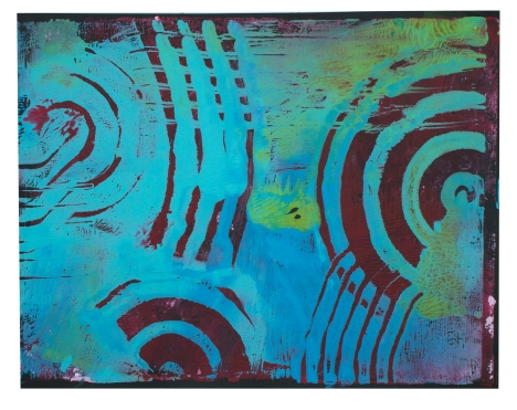Turquoise and Lime Paints printed on Purple Cardstock