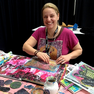 Nathalie Kalbach in the Stampendous Booth- photo courtesy of Nathalie Kalbach