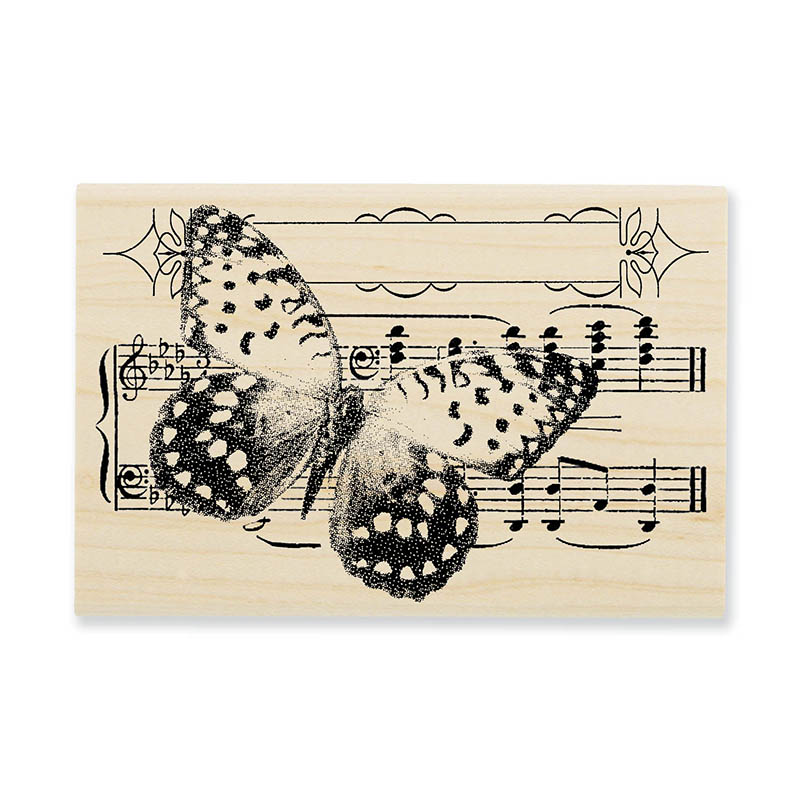 Butterfly Tune Wood Mounted Stamp