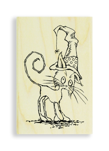 Scraggly Cat Wood Mount Stamp