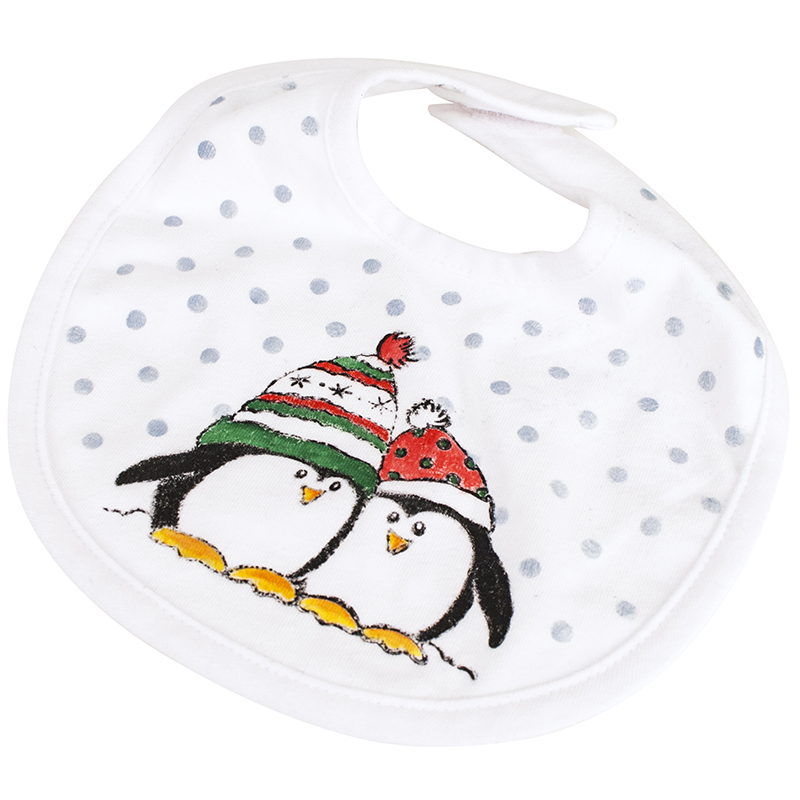 Penguin Snow Baby Bib by Tammie Wilson
