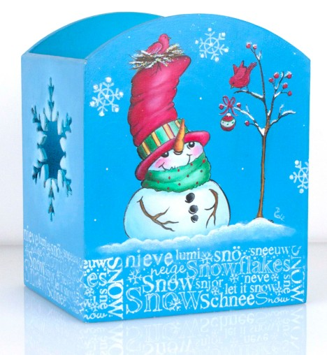 Top Hat Snowman Candle Holder by Debbie Cole