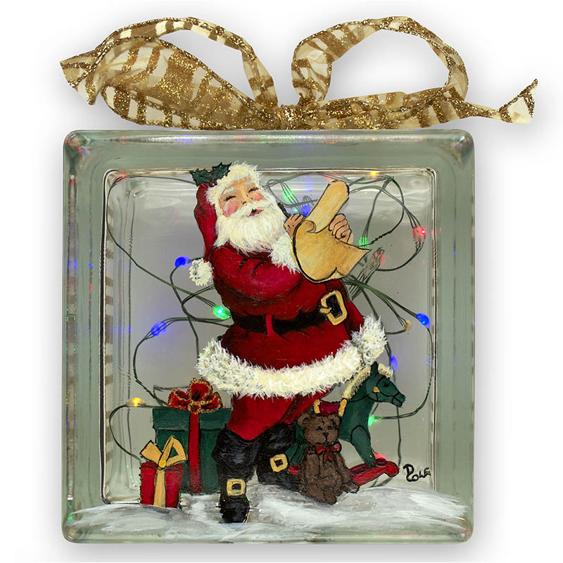 Dear Santa Glass Block by Debbie Cole