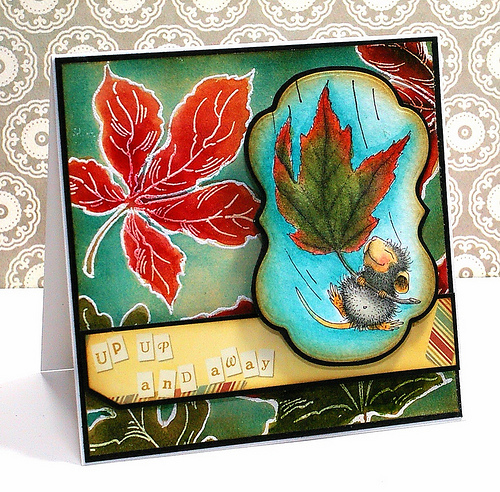 House-Mouse Designs Fall Float with Jumbo Leaves Card by Tobi Crawford