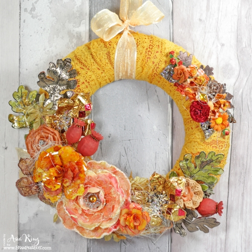 Fall autumnal DIY wreath with metal leaves and flowers by Asia King for Stampendous