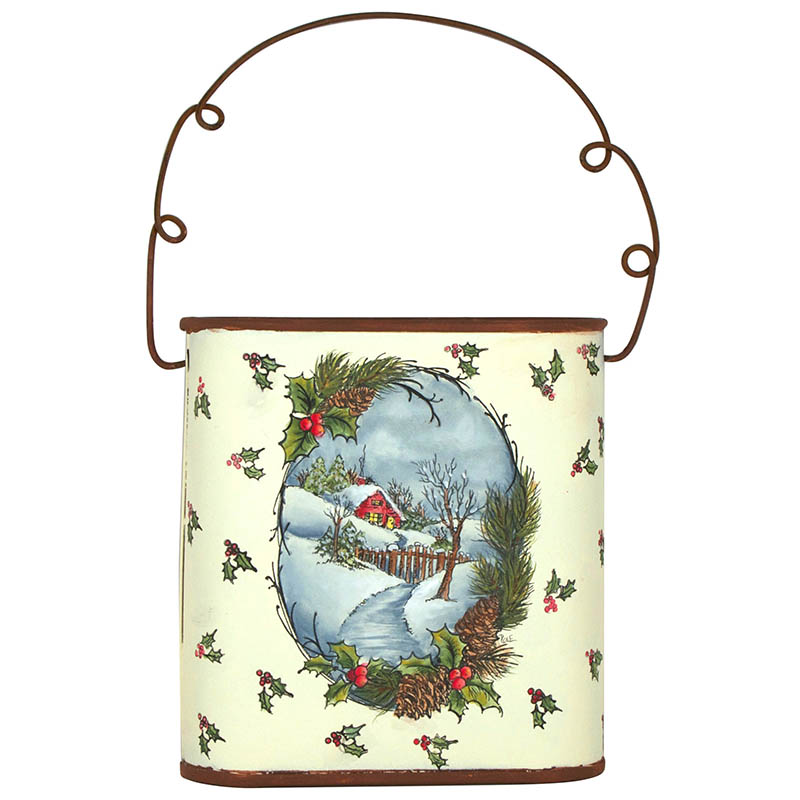 Christmas Cottage Pail by Debbie Cole