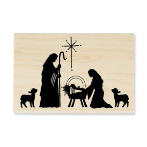 Manger Scene Stamp (Shown in Wood Mount)