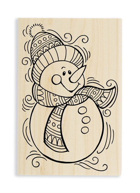 PenPattern Snowman Wood Mount Stamp