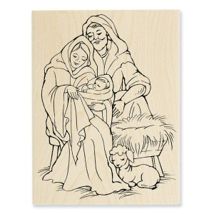 Manger Family Stamp (shown in Wood Mount)