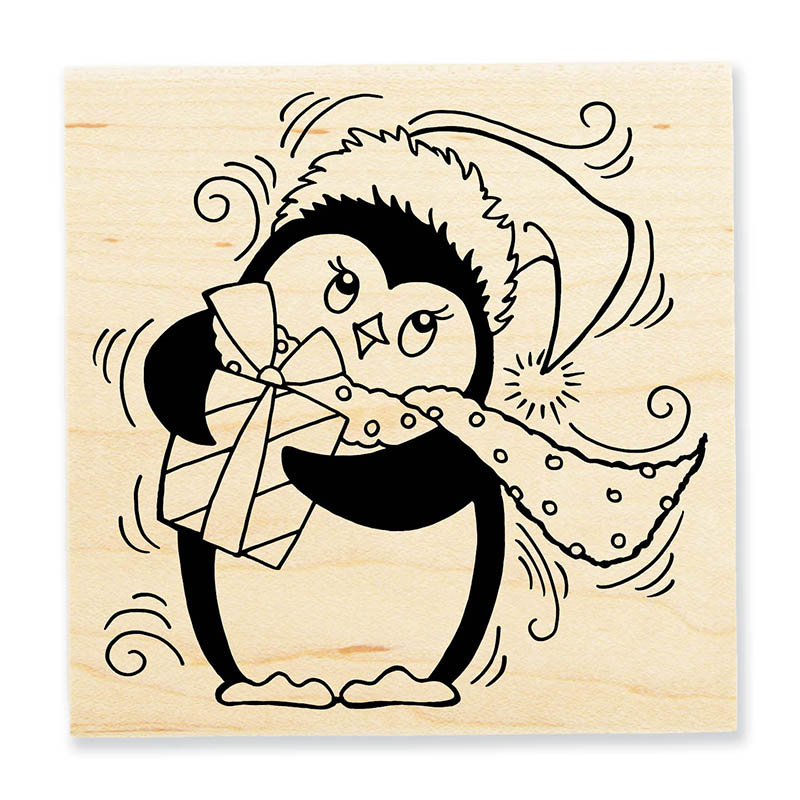 PenPattern Penguin Wood Mount Stamp
