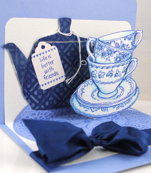 Teacups and Teapot by Pam Hornschu