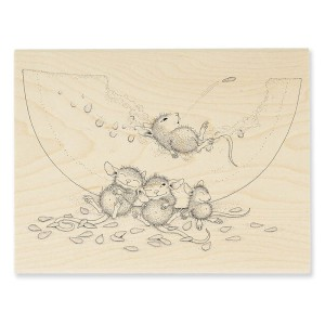 HMR32 Watermelon Mice Wood Stamp