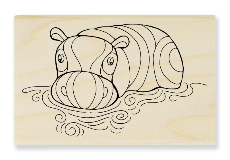 PenPattern Hippo Rubber Stamp