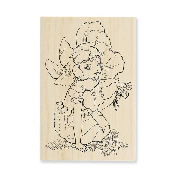 P262 Fairy Flower Wood Mount Stamp