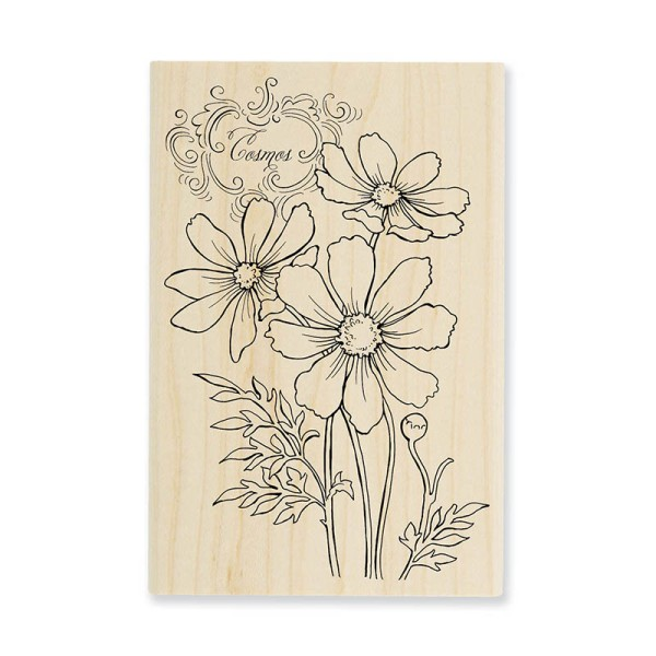 P263 Cosmos Spray Wood Mount Rubber Stamp