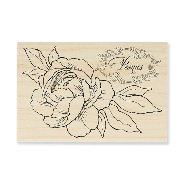 P265 Peony Spray Wood Mount Rubber Stamp