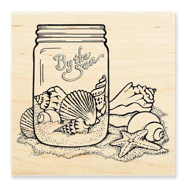 W144 Seashell Jar Wood Stamp