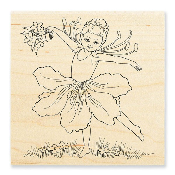 W148 Fairy Dance Wood Mount Rubber Stamp
