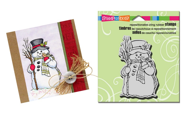 CRM318 Cling Country Snowman Stamp with sample by Wendy Price