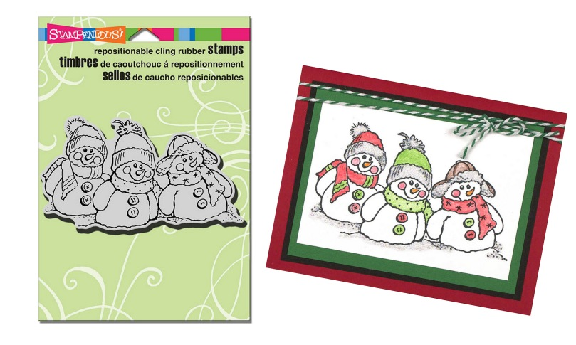 CRP235 Cling Snowman Friends Stamp with card sample by Monika Thomas