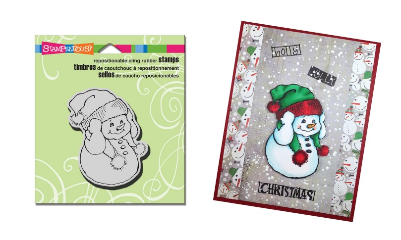 CRV301 Snowman Warm Ears Stamp with sample by Lea Kimmel Fritts