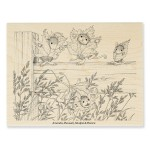 HMR42 Fence Falling Rubber Stamp