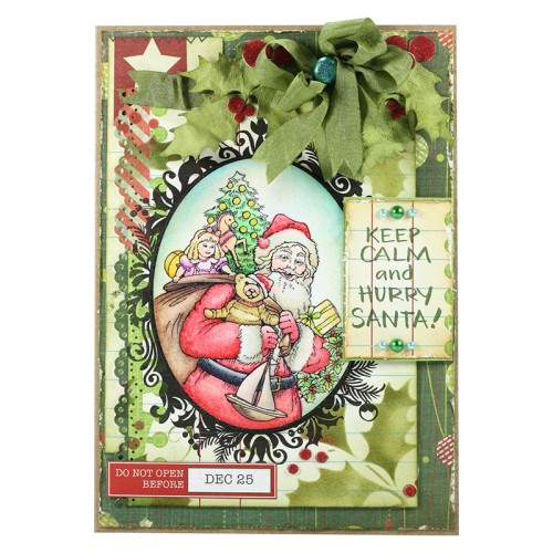 Asia King created this gorgeous card featuring Moss Silk Ribbon and our Classic Santa.