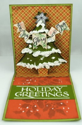 Cling Create Christmas • Pop Up Die set • Holiday Greetings stencil • Regular Embossing Paste • chunky White Embossing Powder • Sparkle Puff Embossing Powder • Perfectly Clear Joyful Phrases