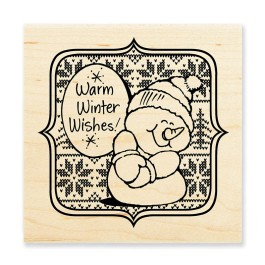 W158 Sweater Snowman Rubber Stamp