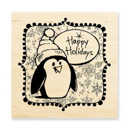 W161 Penguin Holiday Rubber Stamp