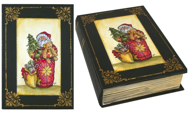 Quilted Santa Painted Book Box by Debbie Cole