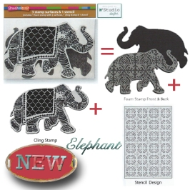 NKCFS01 Elephant Foam Stamp, Cling Rubber and Stencil Set