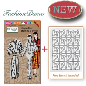 NKCRS07 Cling Fashion Dame Rubber Stamp Set