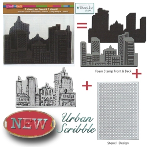 NKCFS03 Urban Scribble Foam Stamp, Cling Rubber and Stencil Set